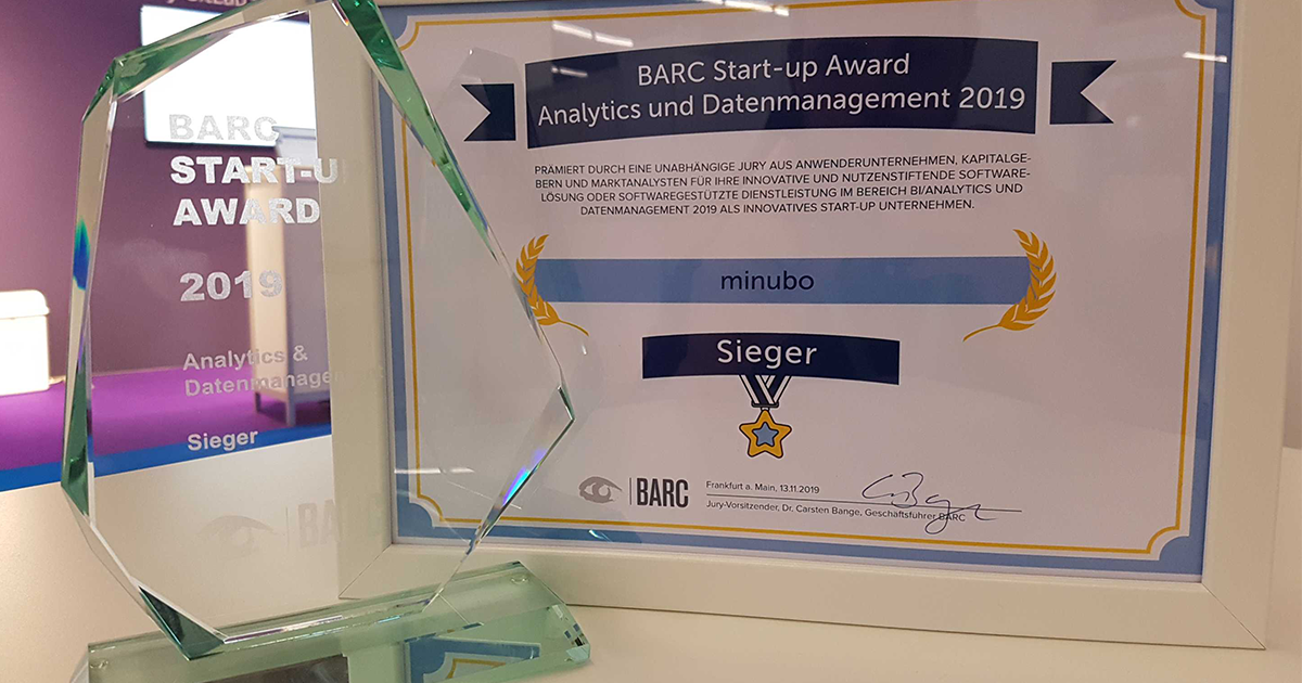 minubo Scores! Winner of the BARC Award 2019 for Analytics and Data Management